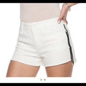 ✨NWT white denim cut off shorts with black stripe